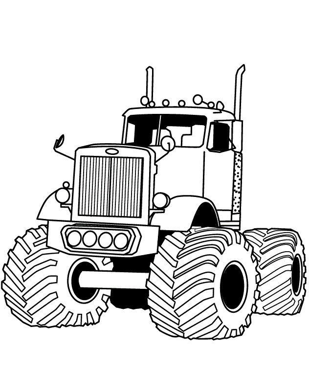 632x798 Big Rig Auto Monster Truck Coloring Page