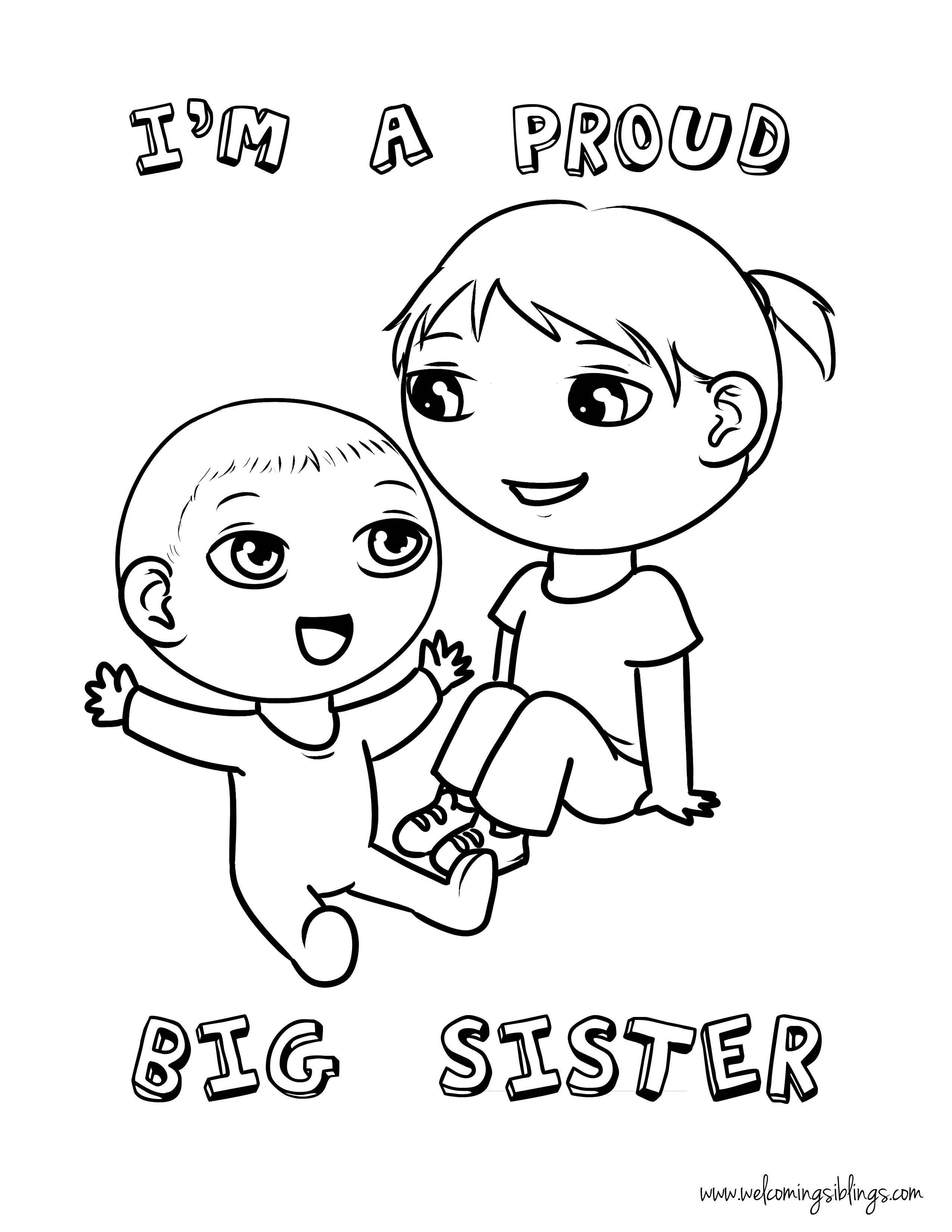2550x3300 Big Sister Coloring Pages Free Page Welcoming