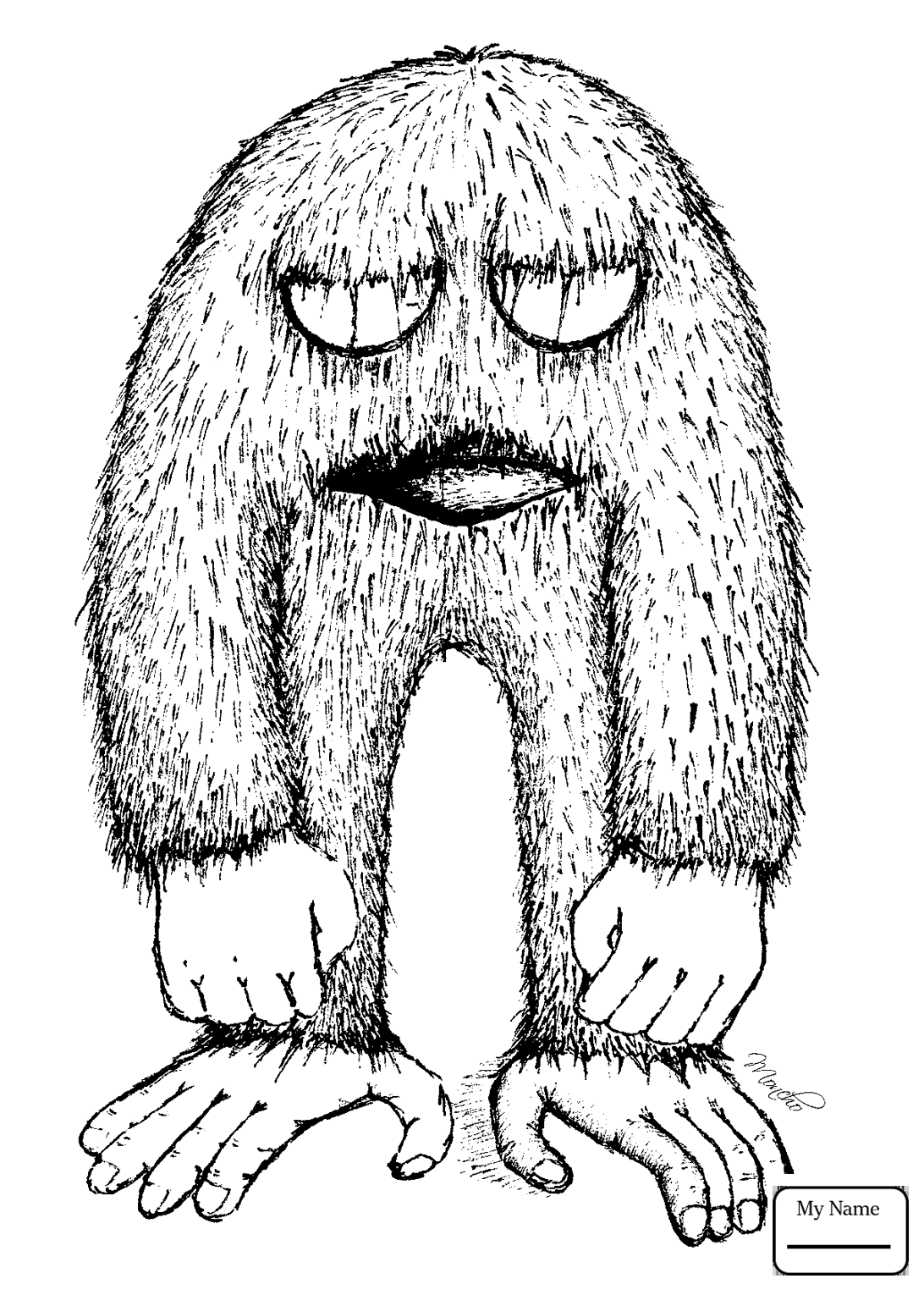 1092x1530 Bigfoot Coloring Page