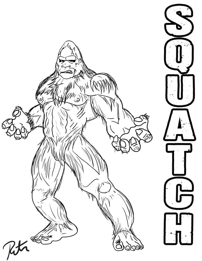 700x906 Printable Bigfoot Coloring Pages Finding Bigfoot Squatch Lineart
