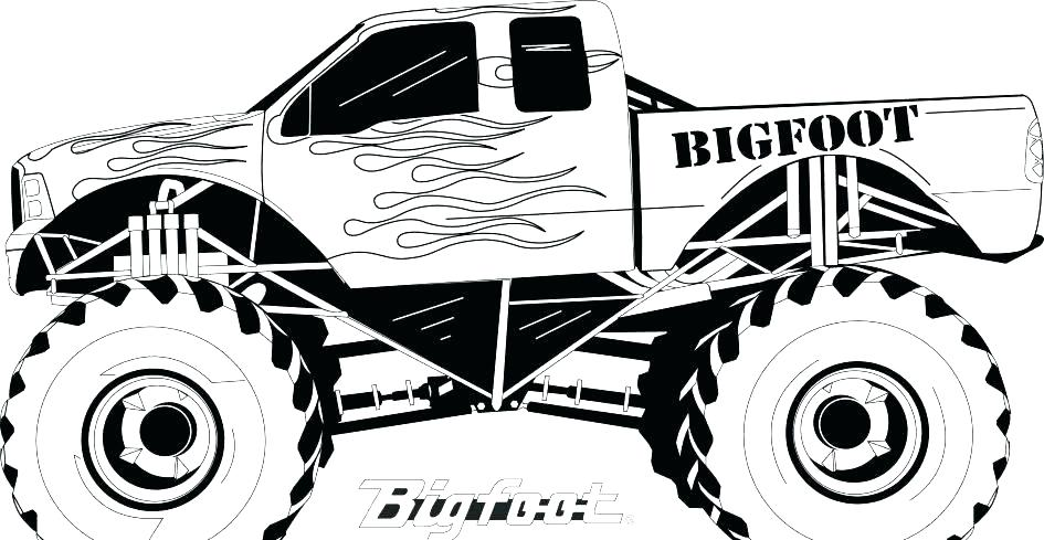945x489 Bigfoot Monster Truck Coloring Pictures And Batman Monster Truck
