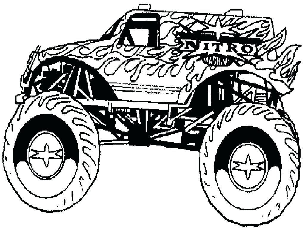 1024x768 Printable Coloring Bigfoot Monster Truck Coloring Pages Free