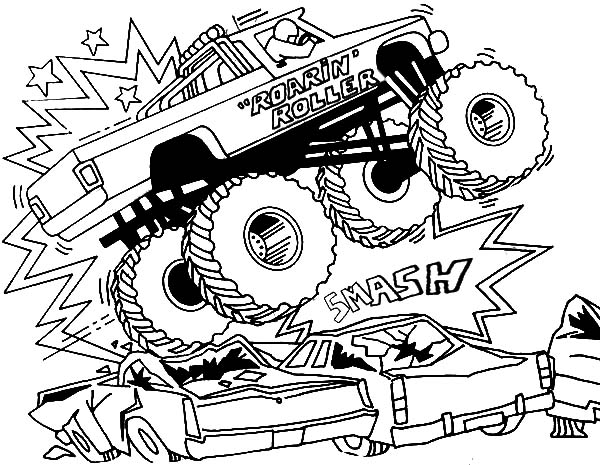 600x465 Bigfoot Monster Jam Smashing Cars Coloring Pages Color Luna