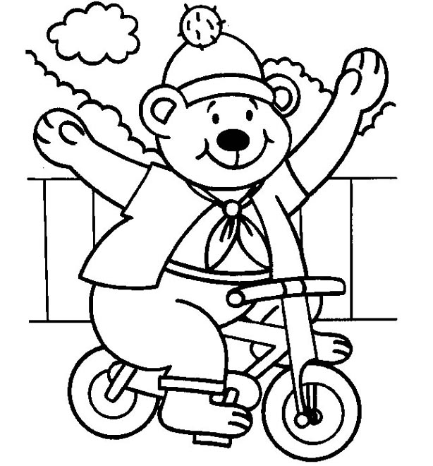 614x660 Bear On Bike Coloring Page