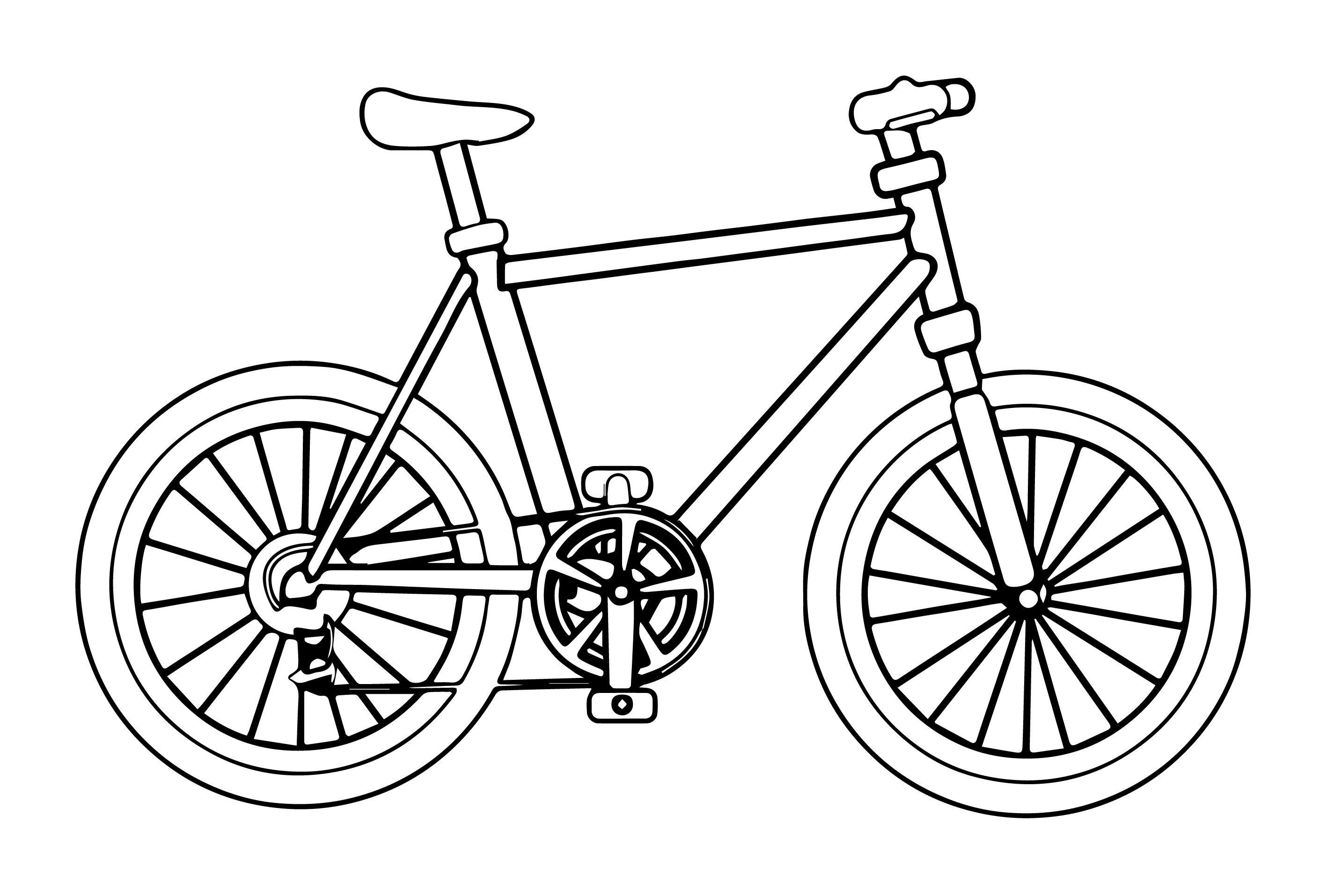 2835x1915 Bicycle Coloring Page