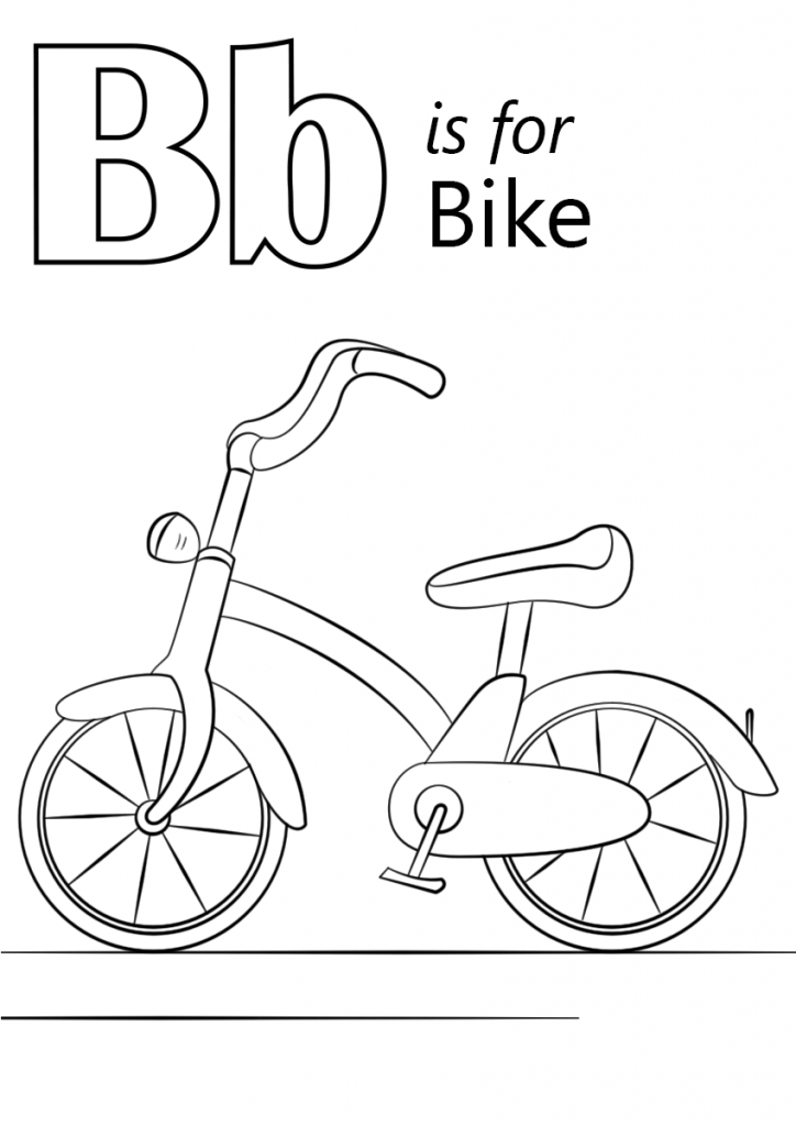 724x1024 Letter B Is For Bike Coloring Page Kids