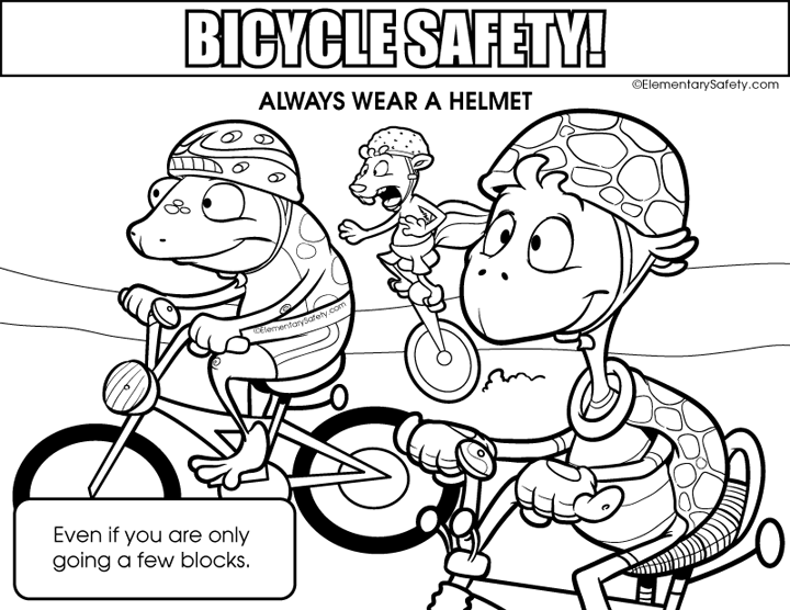 Bike Helmet Coloring Page
