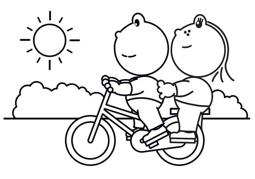 857x600 Bike Riding Coloring Pages