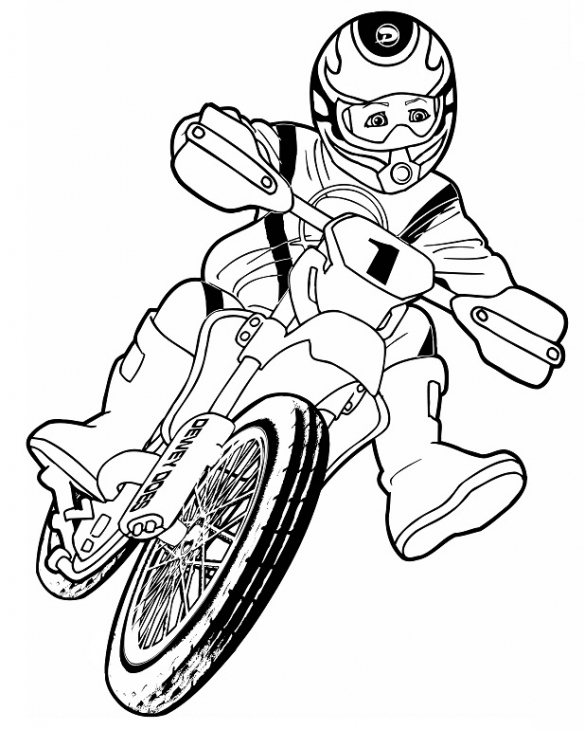 585x730 Boy Riding A Dirt Bike For Motorcross Coloring Page