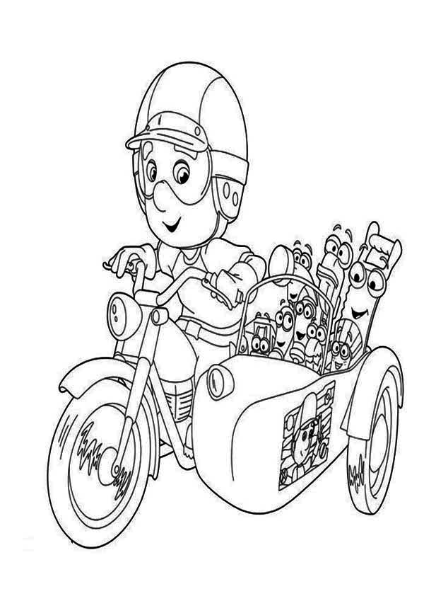 600x849 Handy Manny With Friends Riding Bike Coloring Page
