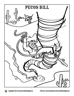 302x391 Pecos Bill Coloring Page