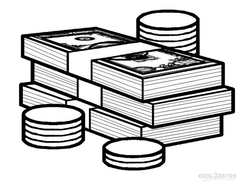 850x652 Startling Money Coloring Pages For Kindergarten Print Bills Sign