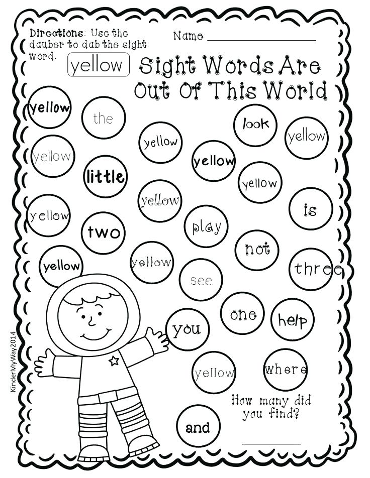 736x952 Bingo Dauber Coloring Pages Sight Word Dauber Primer Edition Pages