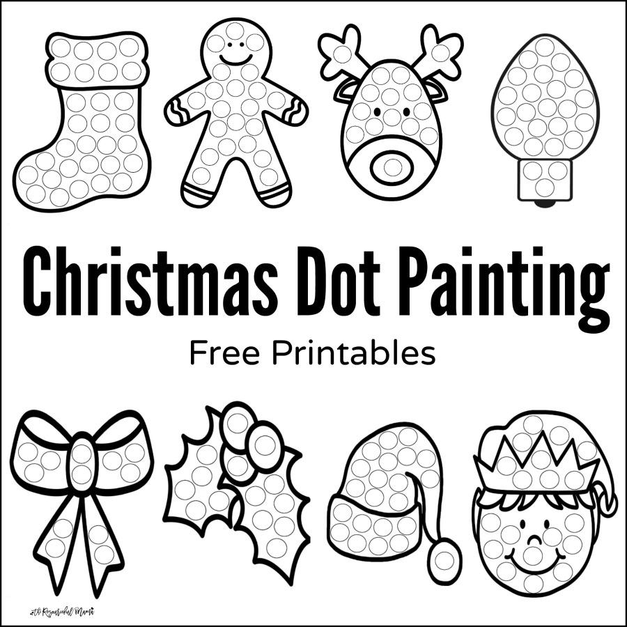 900x900 Christmas Dot Painting {free Printables}