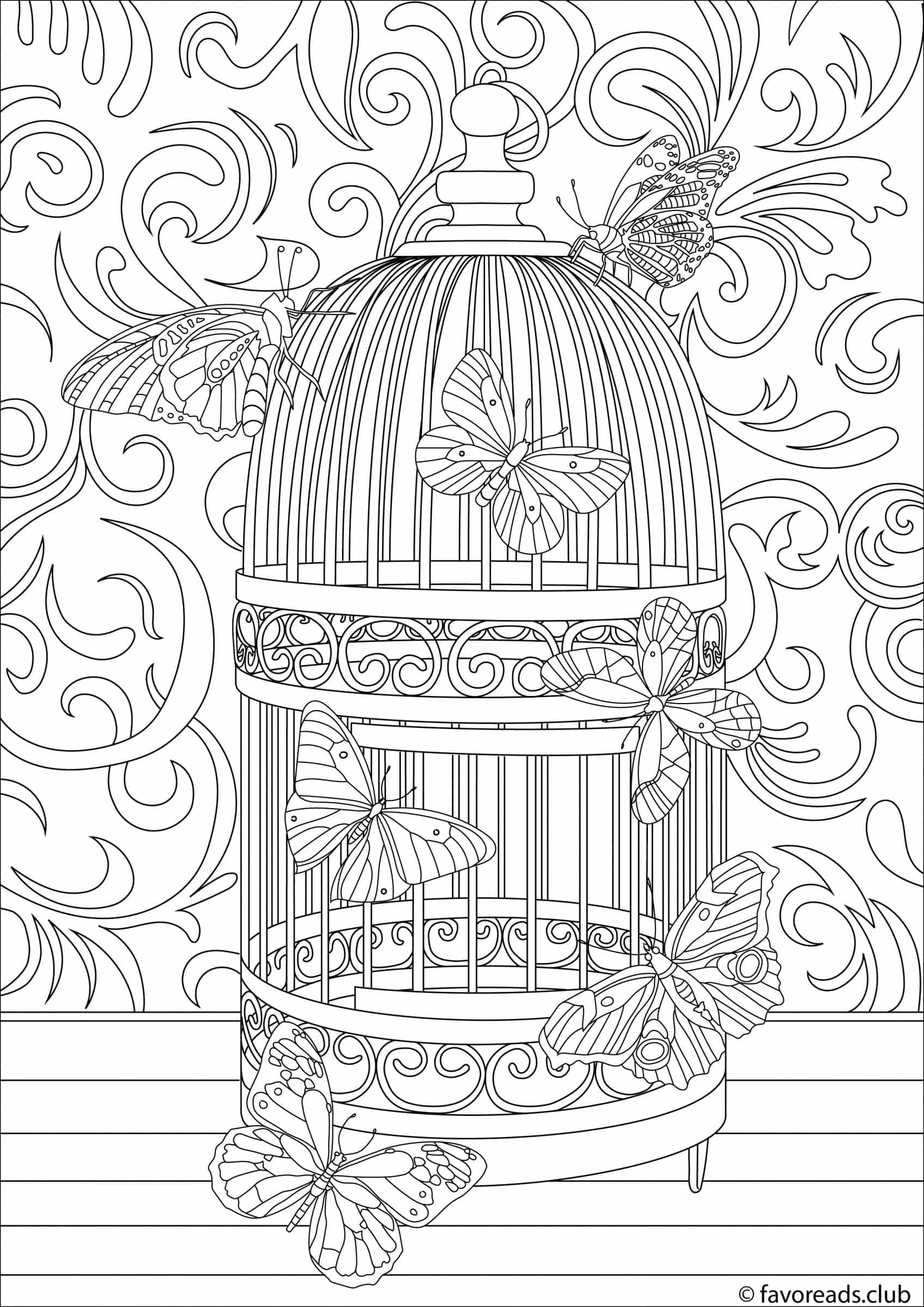 1697x2400 Birdcage Coloring Page Favoreads Coloring Pages For Adults