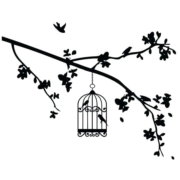600x600 Branch Coloring Pages Bird Cage Hanging At The Edge Of Branch