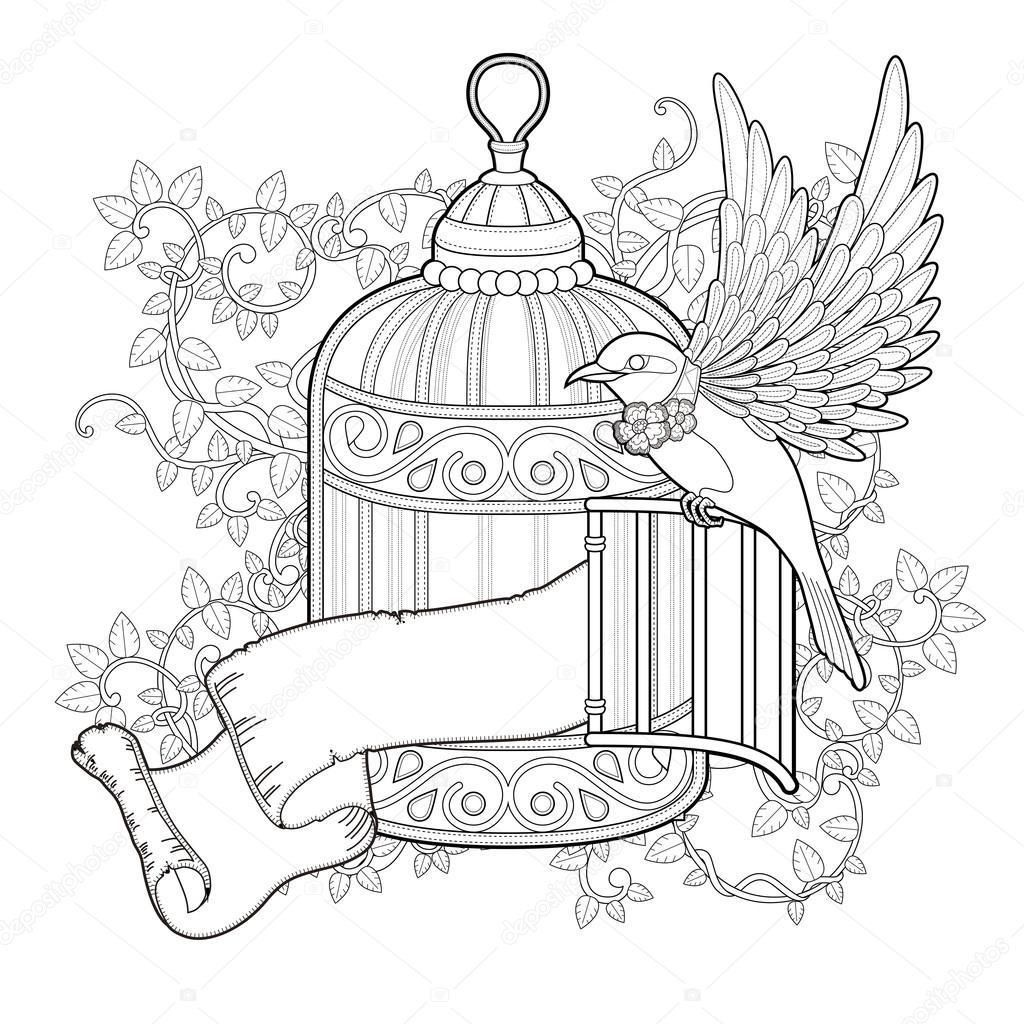 1024x1024 Coloring Page Bird Cage Coloring Sheets