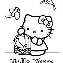 220x220 Hello Kitty With A Bird Coloring Pages