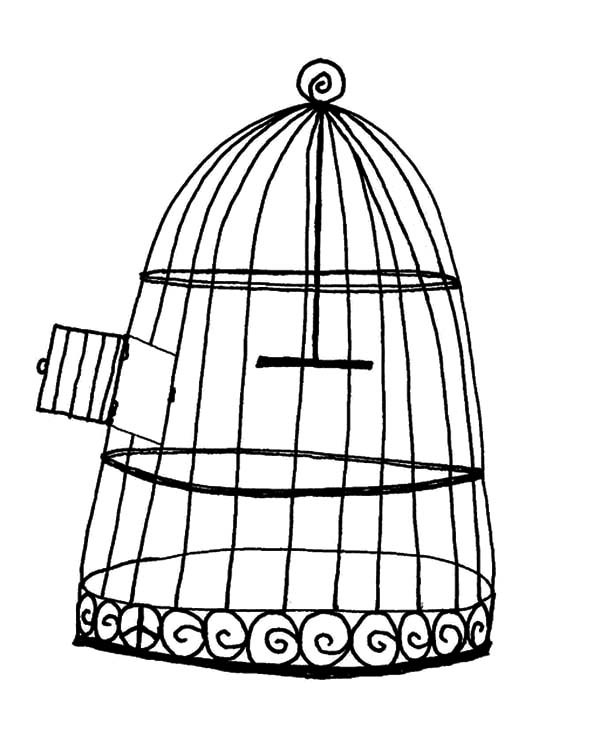 600x750 Bird Cage Coloring Pages For Kids Best Place To Color