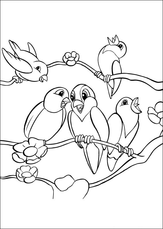 567x794 Animal Birds Singing Coloring Page