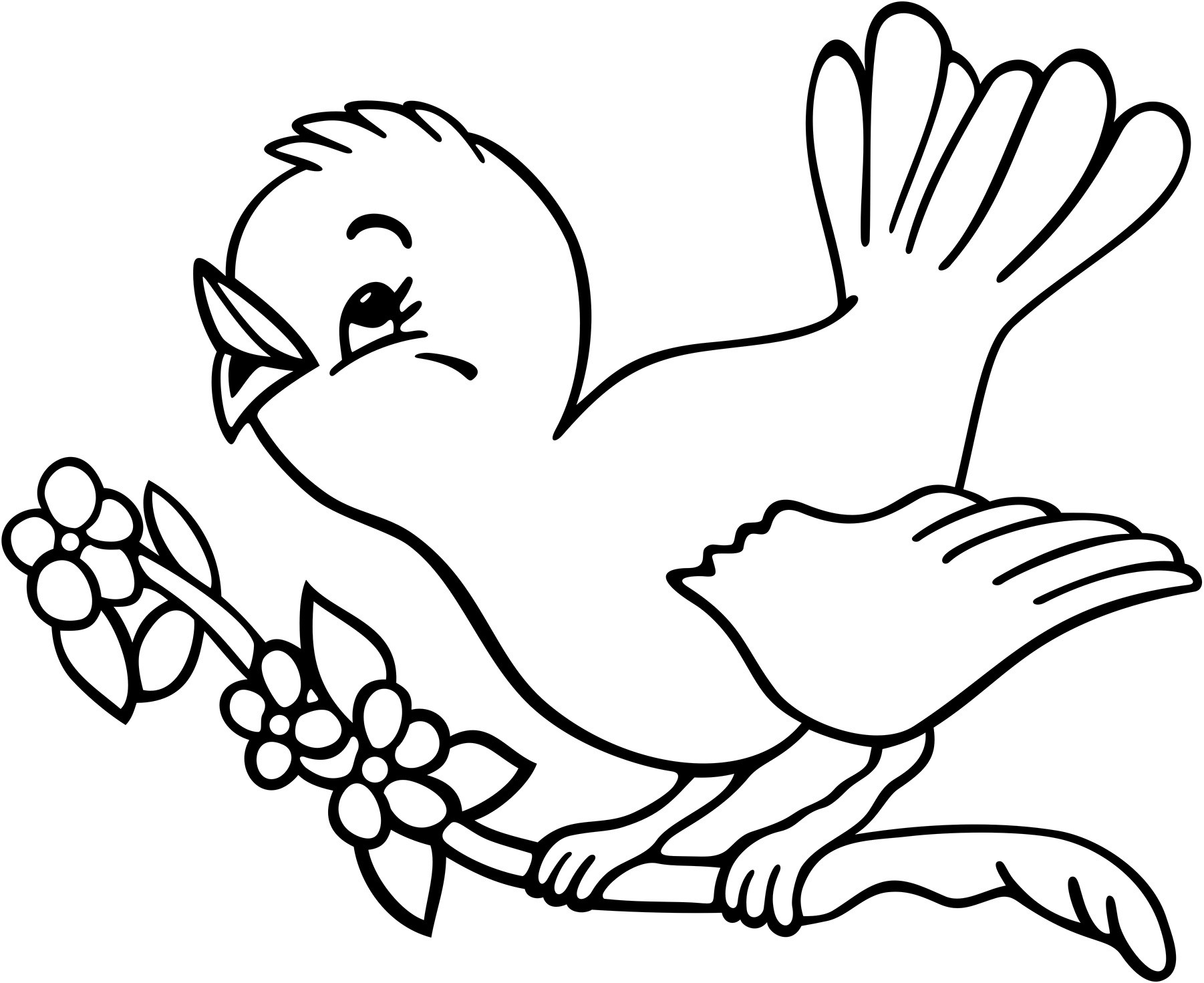 1802x1471 Bird Coloring Pages Cute Tweety For Kids Beautiful With Birds