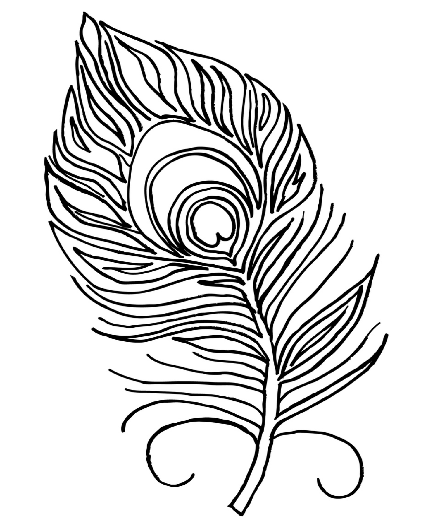 1440x1800 Coloring Pages Boho Feathers Bird Feather Types Printable Page
