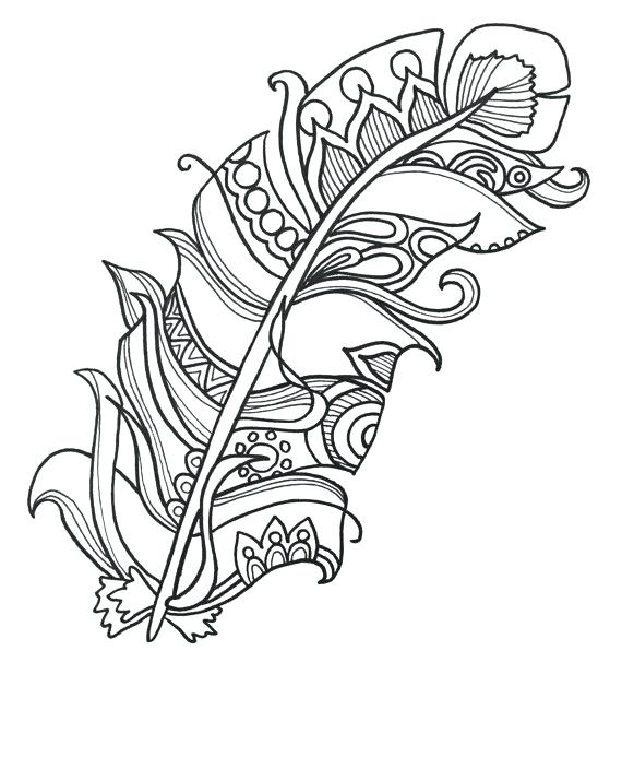 570x704 Feather Coloring Pages