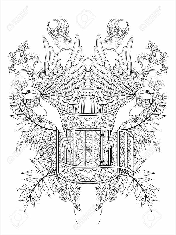 Bird In Cage Coloring Page