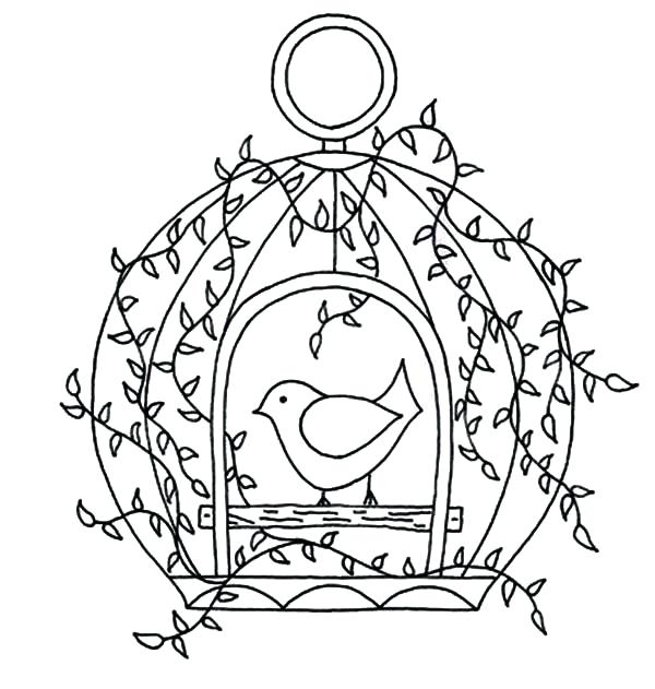 600x631 Bird In A Cage Drawing At Free For Personal Use Myka Jelina