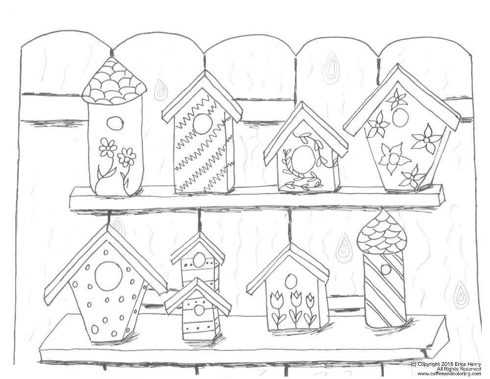 1000x773 Free Coloring Pages Bird Houses Bgcentrum