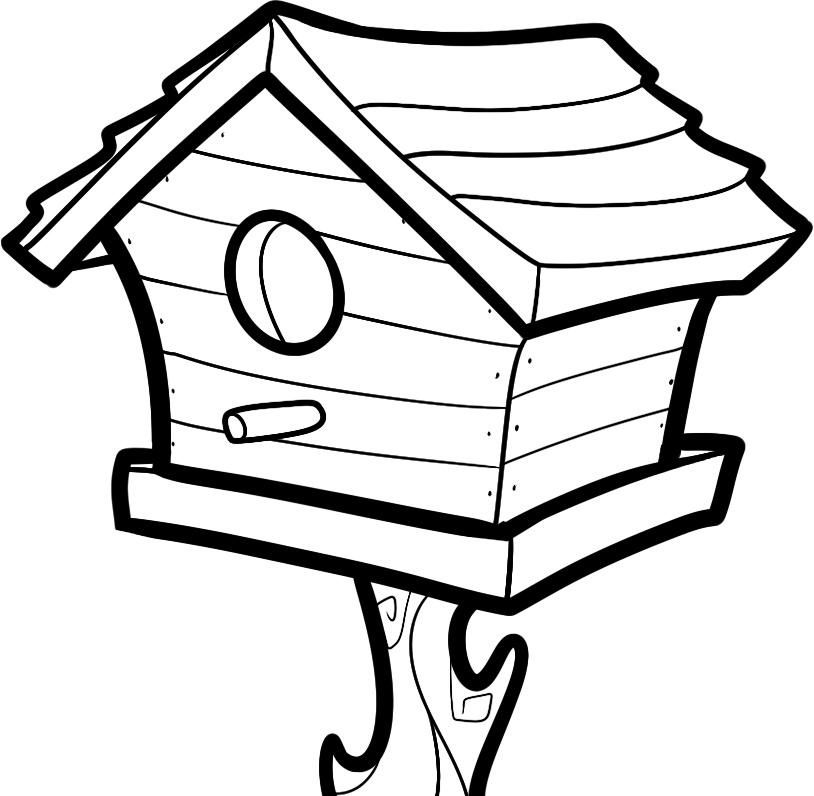 814x796 Free Printable House Coloring Pages For Kids Bird Houses, Sunday