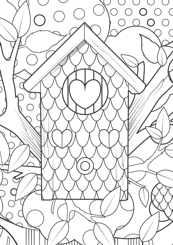 1025x1450 Kleurplaat Vogelhuisje Bos Hart