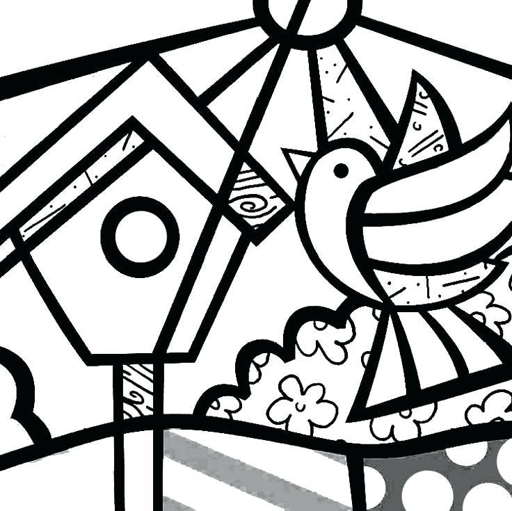 736x735 Romero Britto Coloring Pages Romero Britto Coloring Pages Bird