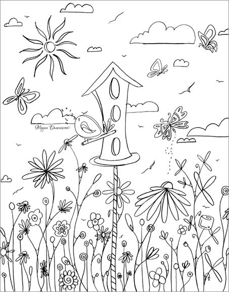 453x576 Whimsical Bird House Flowers Free Coloring Page Download