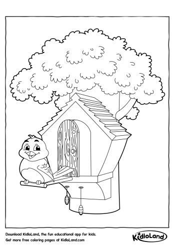 350x495 Bird House Coloring Page Free Printables For Your Kids