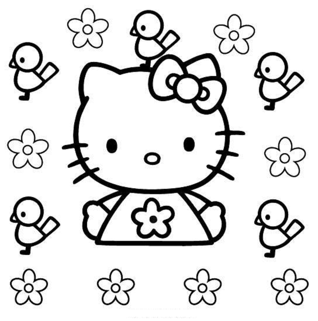 1088x1098 Hello Kitty Birds And Flowers Coloring Pages Coloring Pages