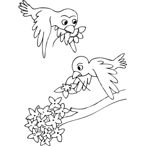 300x300 Birds Carrying Flowers Coloring Page