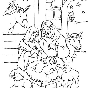 300x300 Born Of Jesus Of Nazareth In Nativity Coloring Page Color Luna