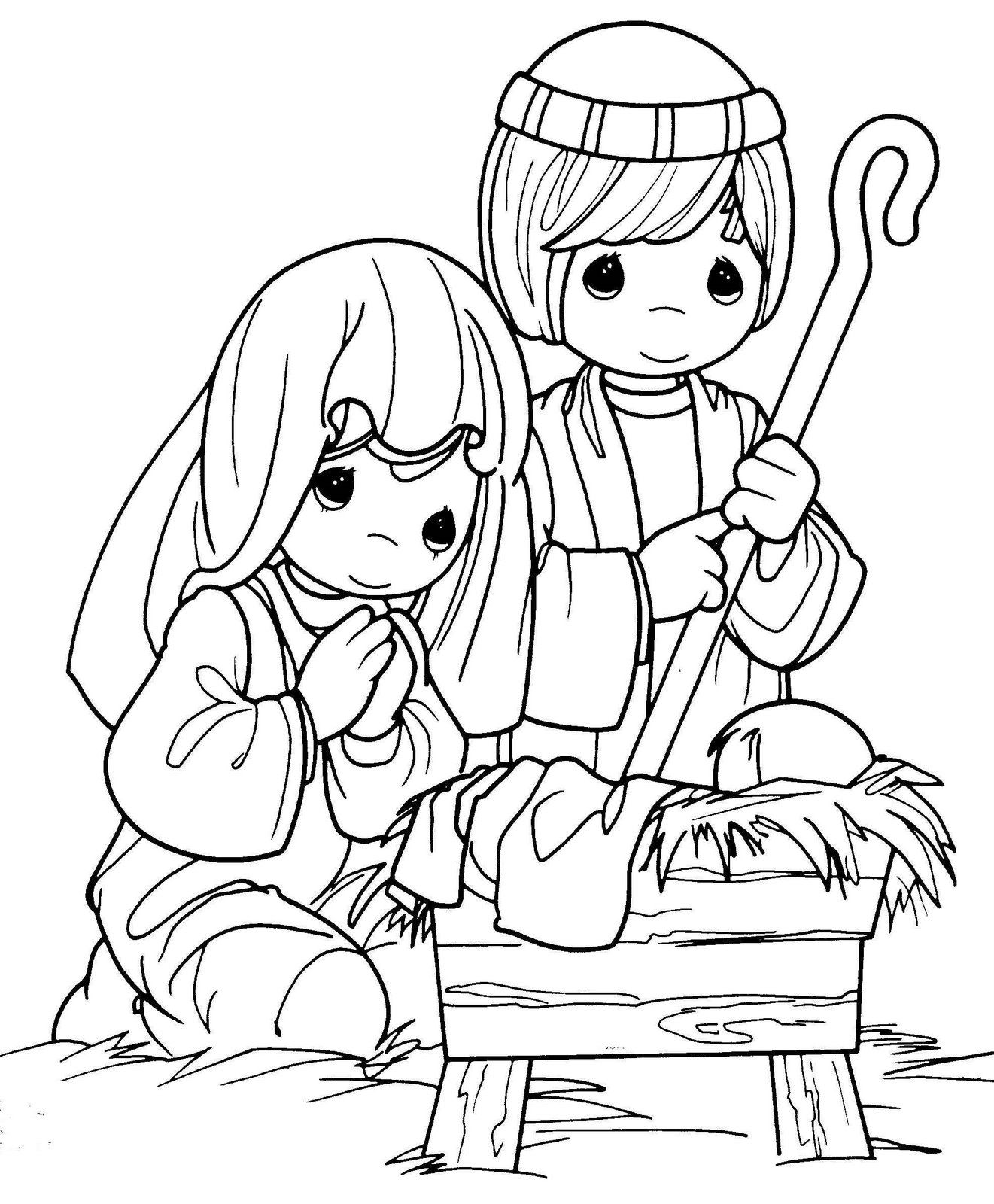 1321x1600 Christmas Coloring Pages Nativity Precious Moments Color Jesus