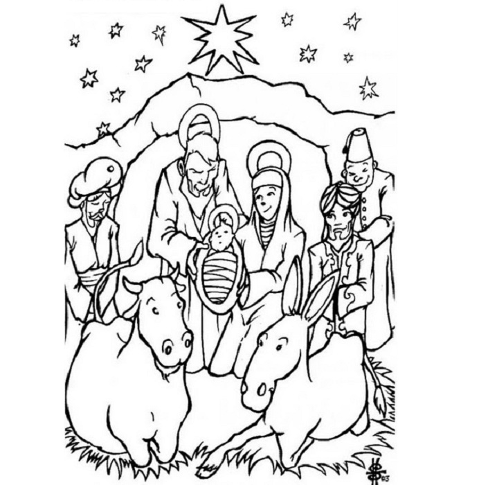 692x700 Merry Christmas Coloring Pages Of Birth Of Jesus Coloring Pages