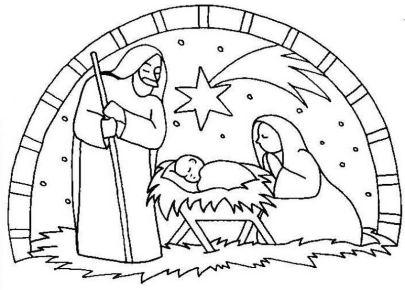 800x573 Nativity Birth Of Jesus Scene Coloring Page Nativity