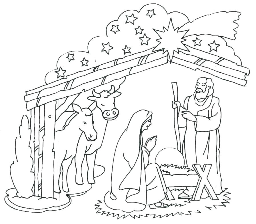 896x783 Jesus Birth Coloring Pages