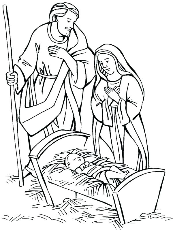 600x798 Baby Jesus Coloring Pages Baby Manger Coloring Page And Coloring