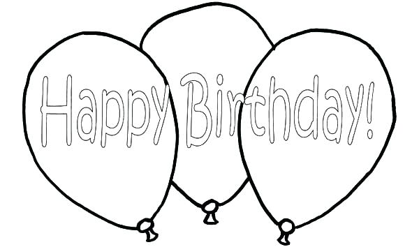 600x354 Birthday Balloon Colouring Pages Printable Coloring Happy Birthday