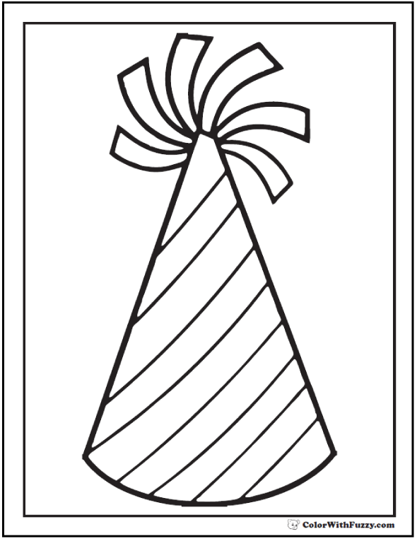 590x762 Birthday Hat Coloring Page