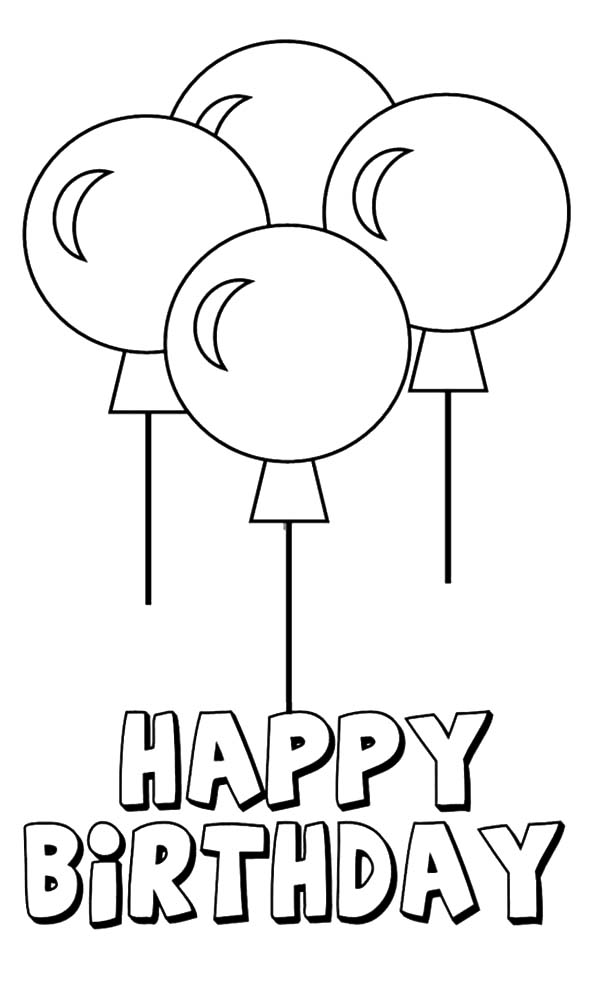 600x982 Four Beautiful Birthday Party Balloons Coloring Pages Best Place