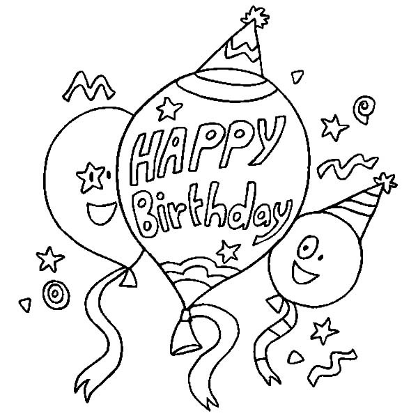 600x600 Happy Birthday Balloons Coloring Pages Best Place To Color