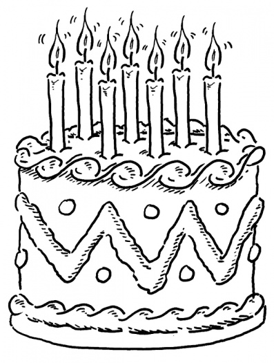 397x525 Birthday Cake Coloring Pages