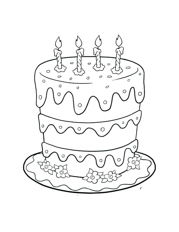 580x750 Cake Coloring Pages Awesome Birthday Cake Coloring Page Best