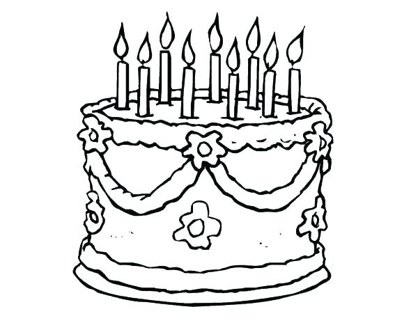 600x464 Cake Coloring Pages Birthday Cake Coloring Page Birthday Cake
